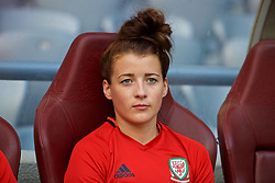 ASTANA, KAZAKHSTAN - Saturday, September 16, 2017: Wales' Angharad James on the bench after training at the Astana Arena ahead of the FIFA Women's World Cup 2019 Qualifying Round Group 1 match against Kazakhstan. (Pic by David Rawcliffe/Propaganda)