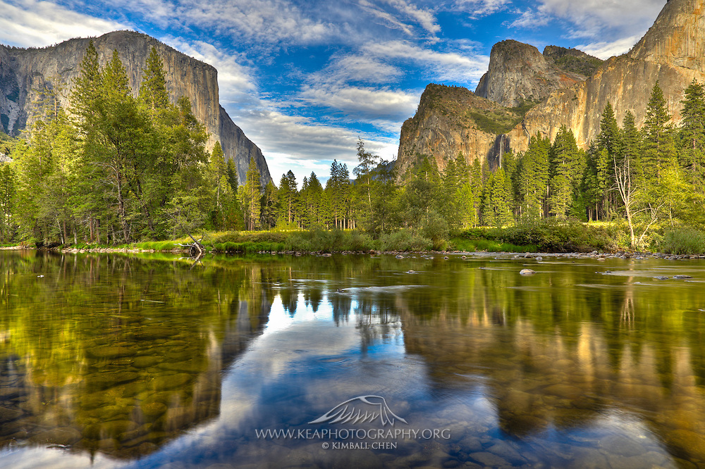 Yosemite Valley with El Capitan and Bridal Veil Falls, reflecting on the Merced River