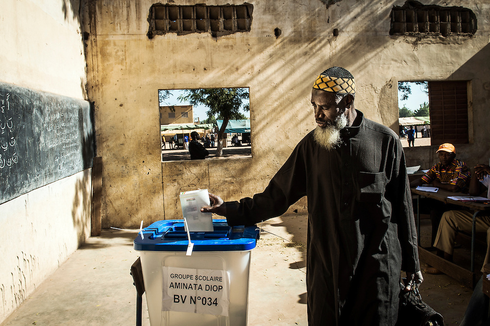 Bamako, Mali 24 November 2013<br /> A Malian man votes in a polling station during the elections day.<br /> At the request of the Malian authorities, the European Union had deployed an election observation mission for the legislative elections scheduled for November and December 2013 in Mali.<br /> Photo: EU EOM Mali / Ezequiel Scagnetti