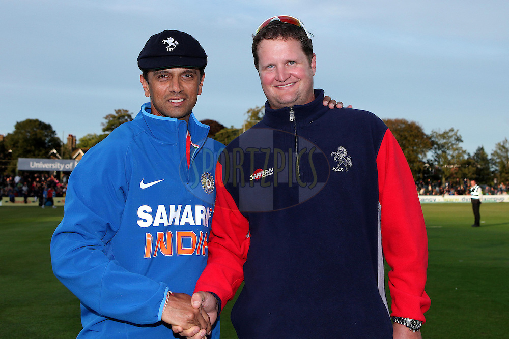 India's Rahul Dravid with Robert Key who presented Rahul with a Kent cap prior to the limited over tour match between Kent County Cricket Club and India held at The Kent County Cricket Ground in Canterbury, England on the 26th August 2011...Photo by Ron Gaunt/SPORTZPICS/BCCI