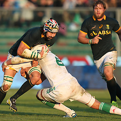 PADUA, ITALY - NOVEMBER 22: Sergio Parisse (captain) of Italy tackling Victor Matfield of South Africa during the Castle Lager Outgoing Tour match between Italy and South African at Stadio Euganeo on November 22, 2014 in Padua, Italy. (Photo by Steve Haag/Gallo Images)