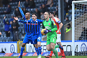 Rochdale appeal for a penalty Ian Henderson during the EFL Sky Bet League 1 match between Rochdale and Fleetwood Town at Spotland, Rochdale, England on 19 January 2019.