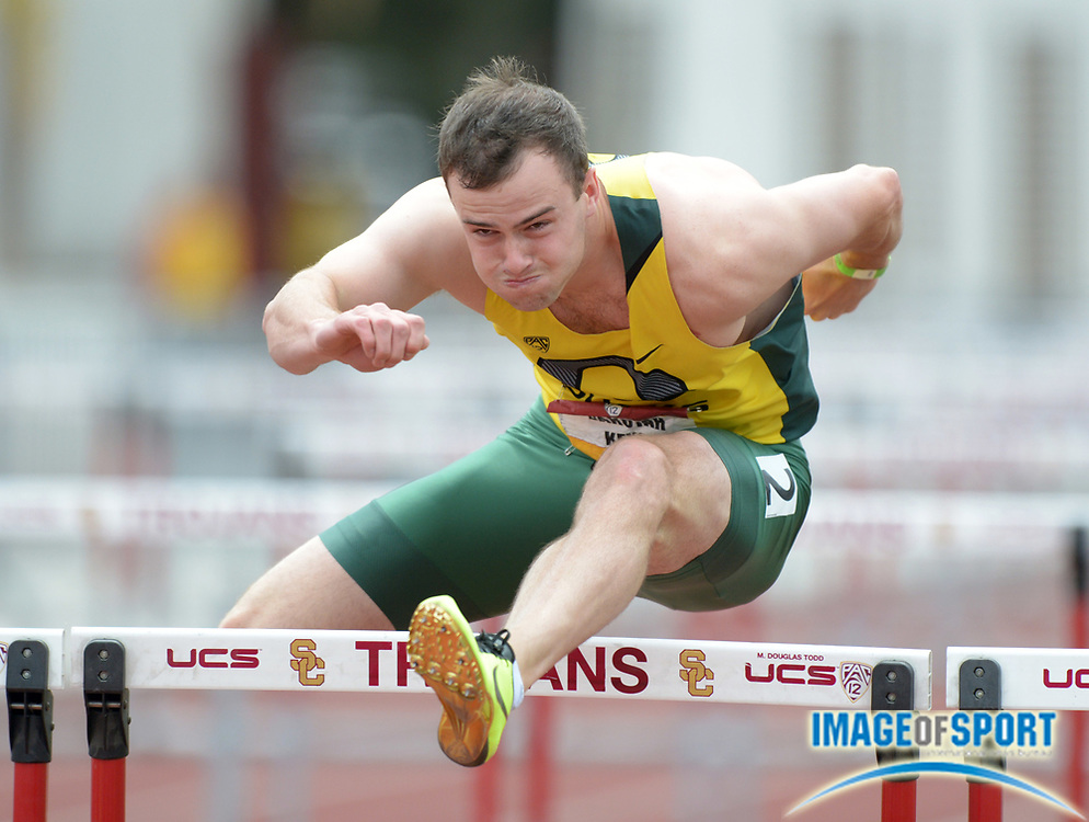 May 5, 2013; Los Angeles, CA, USA; Dakotah Keys of Oregon runs 14.60 in the decathlon 110m hurdles in the 2013 Pac-12 Championships at Cromwell Field. Keys was the overall winner with 8,001 points.