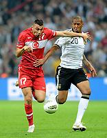 Fotball , 7. oktober 2011 Tyrkia - Tyskland<br /> v.l. Burak Yilmaz, Jerome Boateng (Deutschland)<br /> <br /> <br /> Norway only