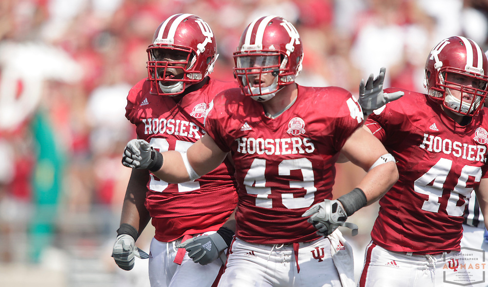 12 September 2009: Indiana linebacker Matt Mayberry (43) as the Indiana Hoosiers played the Western Michigan Broncos in a college football game in Bloomington, Ind.