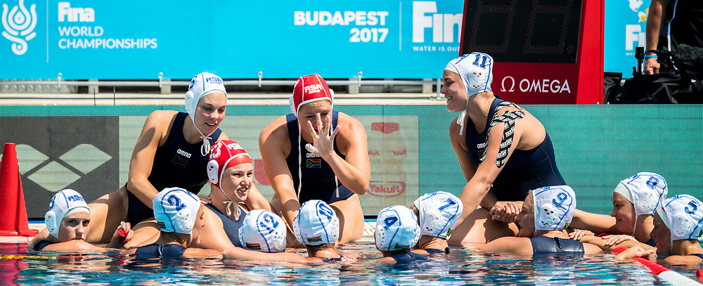 Team RSA South Africa  <br /> RSA (white cap) -  USA (blue cap)<br /> Preliminary Round Water Polo<br /> Day03  16/07/2017 <br /> XVII FINA World Championships Aquatics<br /> Alfred Hajos Complex Margaret Island  <br /> Budapest Hungary <br /> Photo @ Deepbluemedia/Insidefoto