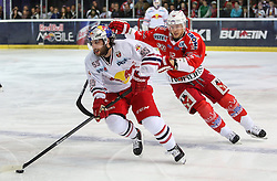 04.04.2014, Eisarena, Salzburg, AUT, EBEL, EC Red Bull Salzburg vs HCB Suedtirol, Finale, best of five, 1. Spiel, im Bild Kim Stroemberg, (HCB Suedtirol, #12) und Dave Meckler, (EC Red Bull Salzburg, #55) // during the 1st match of the final best of five round of the the Erste Bank Icehockey League Playoff between EC Red Bull Salzburg and HCB Suedtirol at the Eisarena in Salzburg, Austria on 2014/04/04. EXPA Pictures © 2014, PhotoCredit: EXPA/ Roland Hackl