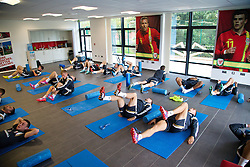 NEWPORT, WALES - Wednesday, October 8, 2014: The Wales squad do pre-activation before training at Dragon Park National Football Development Centre ahead of the UEFA Euro 2016 qualifying match against Bosnia and Herzegovina. (Pic by David Rawcliffe/Propaganda)