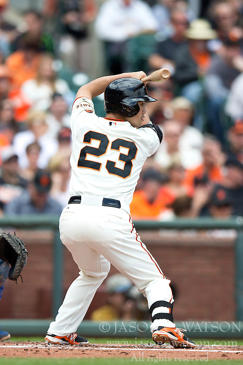 SAN FRANCISCO, CA - MAY 21:  Nori Aoki #23 of the San Francisco Giants at bat against the Los Angeles Dodgers during the first inning at AT&T Park on May 21, 2015 in San Francisco, California.  (Photo by Jason O. Watson/Getty Images) *** Local Caption *** Nori Aoki