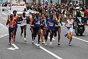Dickson Chumba (KEN), Amos Kipruto (ETH) and Yuta Shitara (JPN) run among the leaders in the Tokyo Marathon in Tokyo, Sunday, Feb. 25, 2018. Chumba won in 2:05:30. Shitara was second in a national record 2:06:11 and Kipruto was third in 2:06:33. (Jiro Mochizuki/Image of Sport)