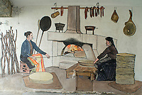Italie. Sardaigne. Province de Nuoro. Village de Mamoida. Pain traditionnel sarde cuit au four. // Italy. Sardinia. Nuoro province. Mamoiada village. traditional bread with oven