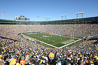 GREEN BAY, WI - OCTOBER 17: An overhead view of he fans in Lambeau Field during the game between  the Green Bay Packers and the Miami Dolphins at Lambeau Field on October 17, 2010 in Green Bay, Wisconsin. The Dolphins defeated the Packers 23-20 in overtime. (Photo by Tom Hauck/Getty Images) *** Local Caption ***