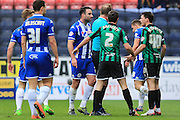 Jason Pearce, Ian Henderson sending off during the Sky Bet League 1 match between Wigan Athletic and Rochdale at the DW Stadium, Wigan, England on 28 March 2016. Photo by Daniel Youngs.
