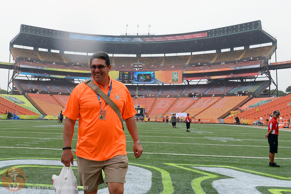 January 26, 2014; Honolulu, HI, USA; Team Rice head coach Ron Rivera of the Carolina Panthers walks to the locker rooms before the 2014 Pro Bowl against Team Sanders at Aloha Stadium.