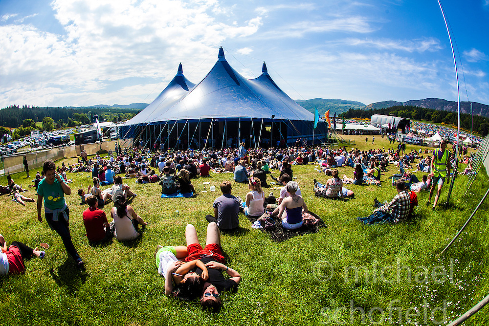 "Goldenvoice Arena. Sunday, Rockness 2013, the annual music festival which took place in Scotland at Clune Farm, Dores, on the banks of Loch Ness, near Inverness in the Scottish Highlands. The festival is known as ""the most beautiful festival in the world""."