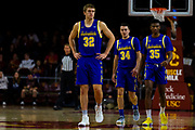 South Dakota State Jackrabbits forward Matt Dentlinger (32) during the first half of an NCAA basketball game against the Southern California Trojans, Tuesday, Nov. 12, 2019, in Los Angeles. USC defeated South Dakota State 84-66. (Brandon Sloter/Image of Sport)
