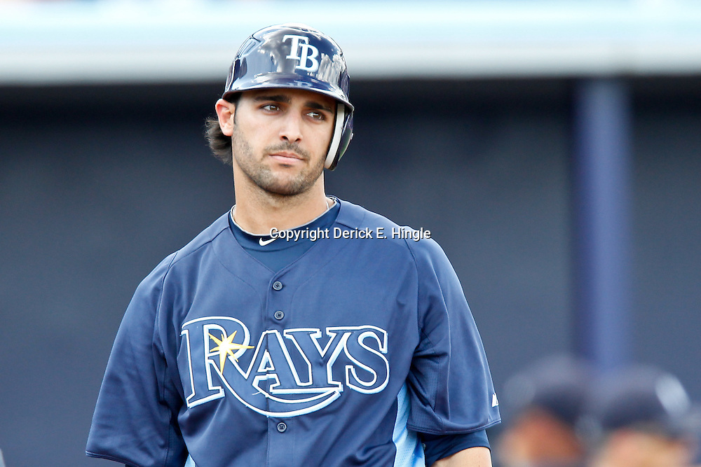 March 21, 2012; Port Charlotte, FL, USA; Tampa Bay Rays shortstop Sean Rodriguez (1) reacts on a called third strike during the bottom of the fifth inning of a spring training game against the New York Yankees at Charlotte Sports Park.  Mandatory Credit: Derick E. Hingle-US PRESSWIRE