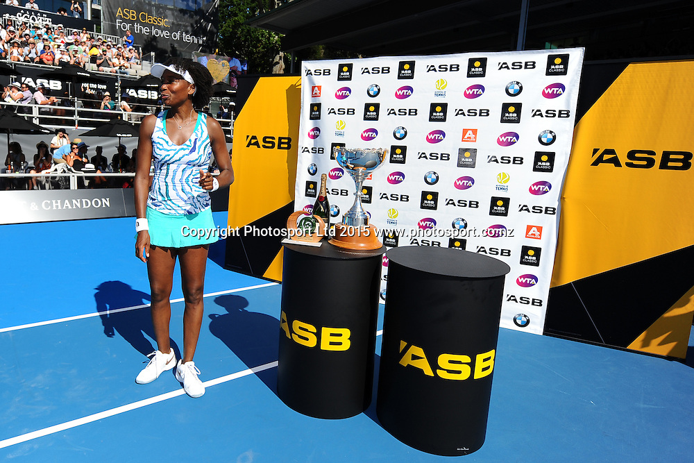 Venus Williams of the USA after winning her Singles Finals match against Danish player Caroline Wozniacki at the ASB Classic Women's International. ASB Tennis Centre, Auckland, New Zealand. Saturday 10 January 2015. Copyright photo: Chris Symes/www.photosport.co.nz
