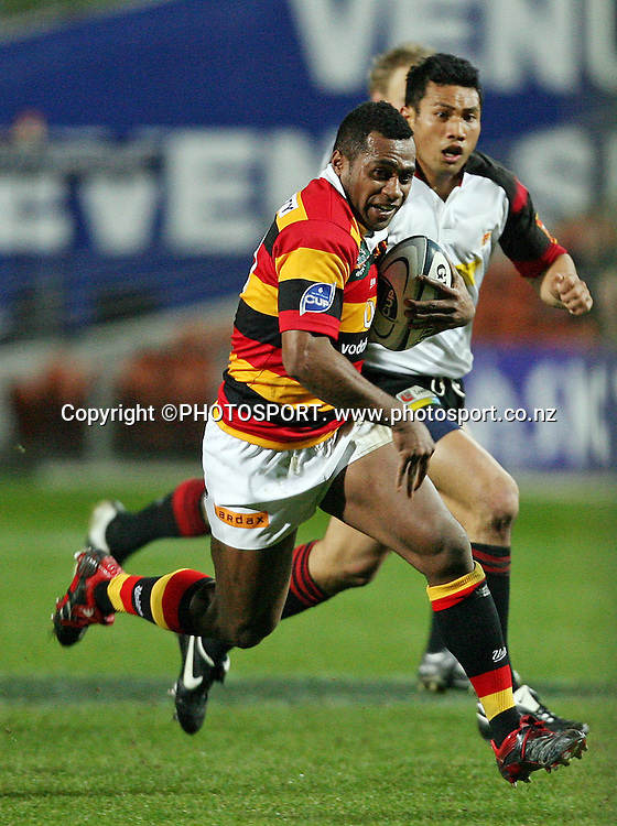 Waikato wing Sitiveni Sivivatu on the charge during the Air New Zealand Cup week 3 rugby union match between Waikato and Canterbury at Waikato Stadium in Hamilton, New Zealand on Friday 11 August 2006. Waikato won the match 36 - 22. Photo: Kevin Booth/PHOTOSPORT<br /><br /><br />110806