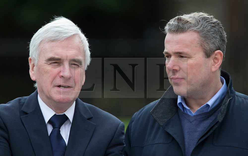 © Licensed to London News Pictures. 01/03/2016. London, UK. Labour Party Shadow Chancellor John McDonnell (L) talks with Mark Serwotka, General Secretary of the Public and Commercial Services Union, as members of the PCS union highlight the closure of HMRC tax offices in a protest near Parliament.   Photo credit: Peter Macdiarmid/LNP