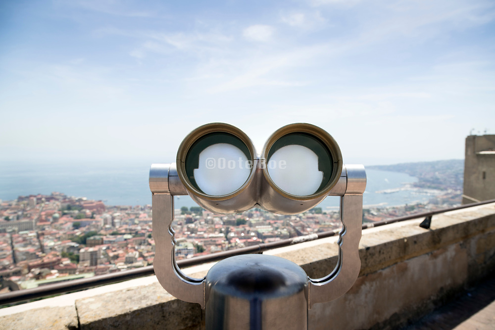 closed pay binoculars at Castel Sant'Elmo scenic overlook of Naples coast Italy