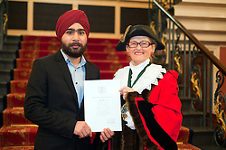 British Army Enlistments Oath of Allegiance held at the Mansion House Doncaster South Yorkshire. recruit Prabjot Singh with Deputy Mayor of Doncaster, Councillor Patricia Schofield  .14 January 2010.Images © Paul David Drabble
