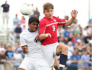 May 12, 2012; Huntsville, AL, USA;  Oak Mountain's David DePriest goes for the ball along with Auburn's Jorge Herrera (4).  Mandatory Credit: Marvin Gentry