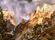 The Canyon of the Yellowstone',  1911.  After Thomas Moran (1837-1926) English-born American artist. United States Wyoming National Park Landscape River Waterfall Rainbow Mountain Rock Geology  Wilderness