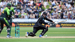 New Zealand's Henry Nicholls sweeps in front of Pakistan's Sarfraz Ahmed in the first one day cricket international at the Basin Reserve, Wellington, New Zealand, Saturday, January 06, 2018. Credit:SNPA / Ross Setford  **NO ARCHIVING**