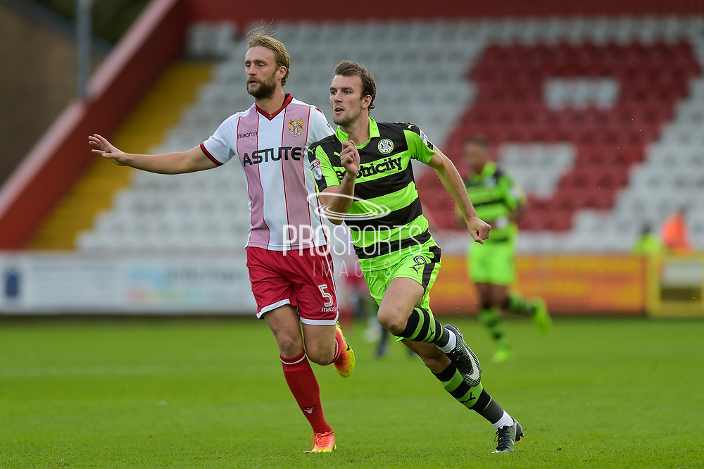 Stevenage Defender, Fraser Franks (5) and Forest Green Rovers Christian Doidge(9) during the EFL Sky Bet League 2 match between Stevenage and Forest Green Rovers at the Lamex Stadium, Stevenage, England on 21 October 2017. Photo by Adam Rivers.