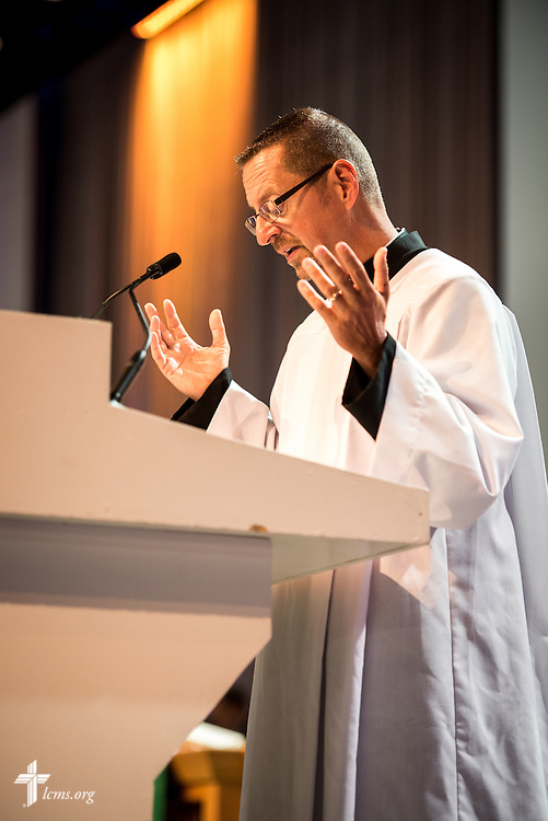 The Rev. William Weedon, chaplain of the LCMS International Center, prays during Matins at the 66th Regular Convention of The Lutheran Church–Missouri Synod on Sunday, July 10, 2016, at the Wisconsin Center in Milwaukee. LCMS/Michael Schuermann