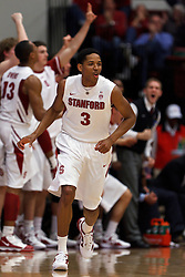 Feb 19, 2012; Stanford CA, USA; Stanford Cardinal guard/forward Anthony Brown (3) celebrates after making a three point shot against the Oregon Ducks during the second half at Maples Pavilion. Oregon defeated Stanford 68-64. Mandatory Credit: Jason O. Watson-US PRESSWIRE