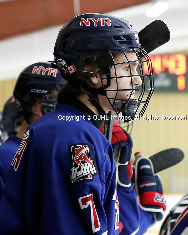 TRENTON, ON - JAN 25,  2017: Ontario Junior Hockey League action game between North York and Buffalo at the 2017 Winter Showcase, Peter Muzyka #7 of the North York Rangers<br /> (Photo by Amy Deroche / OJHL Images)