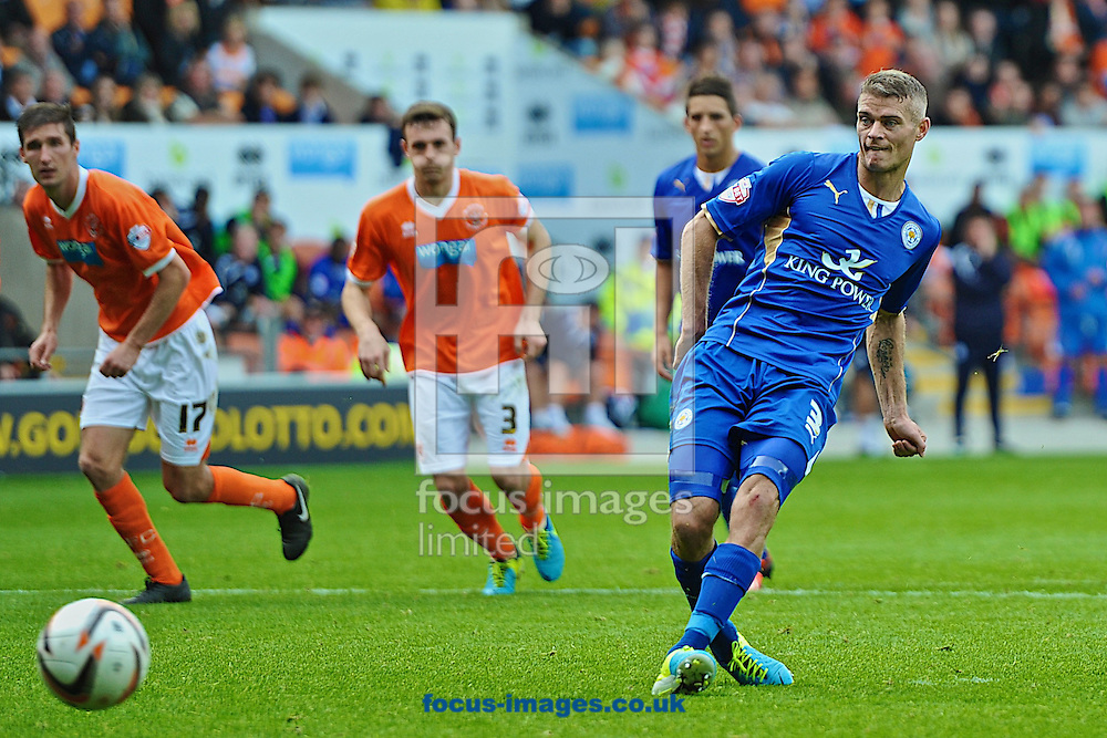 Picture by Ian Wadkins/Focus Images Ltd +44 7877 568959<br /> 21/09/2013<br /> Paul Konchesky of Leicester City scores from the penalty spot to make it 1-1 during the Sky Bet Championship match at Bloomfield Road, Blackpool.