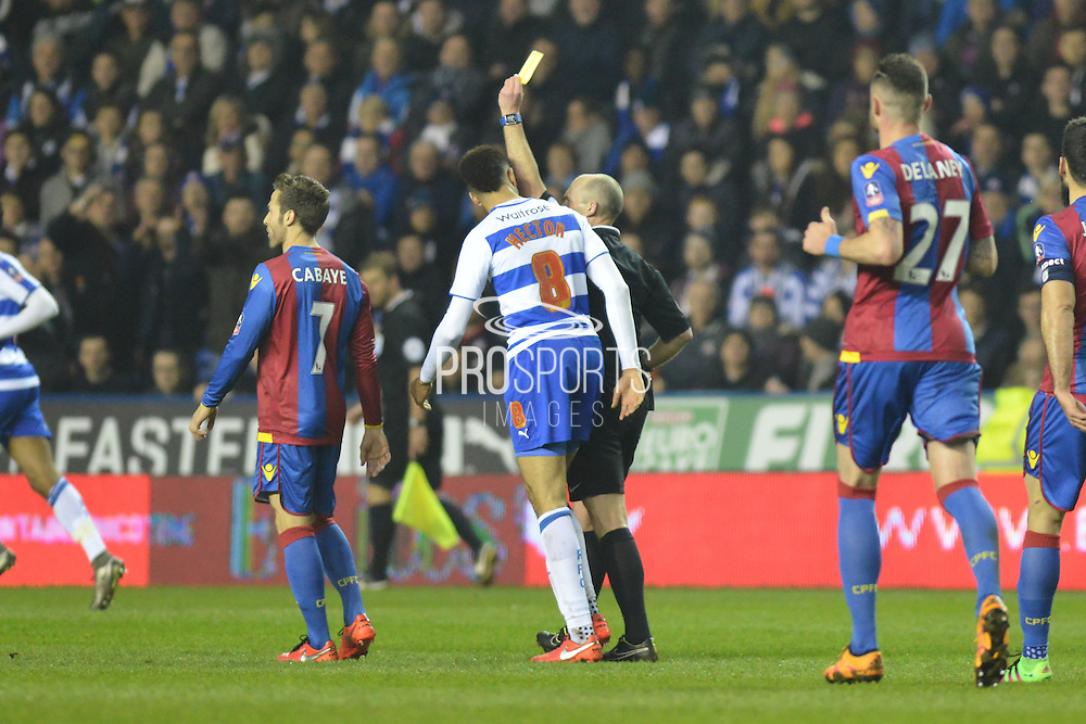 Yellow card for Reading FC defender Michael Hector during the The FA Cup Quarter Final match between Reading and Crystal Palace at the Madejski Stadium, Reading, England on 11 March 2016. Photo by Mark Davies.