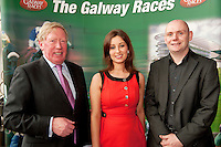 11/07/2012. .Galway Race Course Manager John Moloney with Sandra ginnelly, Galway Race course and Donal Healy from Ireland West Airport Knock at the 2012 Galway Races Summer Festival, official launch  in the g Hotel, Galway. The seven day festival runs from Monday 30th July to Sunday 5th August. Photo:Andrew Downes. (first use repro free).