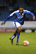 Chesterfield FC forward Sylvan Ebanks-Blake strikes the ball during the The FA Cup match between Chesterfield and Walsall at the Proact stadium, Chesterfield, England on 5 December 2015. Photo by Aaron Lupton.