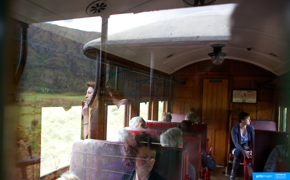 Passengers on the Kingston Flyer vintage steam train at Saturday's relaunch of the historic locomotives at Fairlight near Queenstown, Central Otago, New Zealand, 29th October 2011. Photo Tim Clayton...