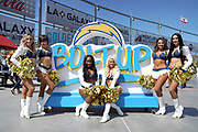 Sep 8, 2019; Carson, CA, USA; Los Angeles Chargers girls cheerleaders pose by Bolt Up sign during the game against the Indianapolis Colts at Dignity Health Sports Park.