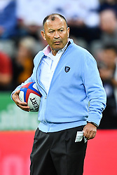 Head Coach Eddie Jones of England during the pre match warm up<br /> <br /> Photographer Craig Thomas/Replay Images<br /> <br /> Quilter International - England v Italy - Friday 6th September 2019 - St James' Park - Newcastle<br /> <br /> World Copyright © Replay Images . All rights reserved. info@replayimages.co.uk - http://replayimages.co.uk