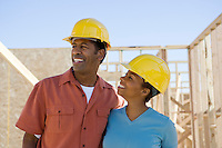 Couple on construction site