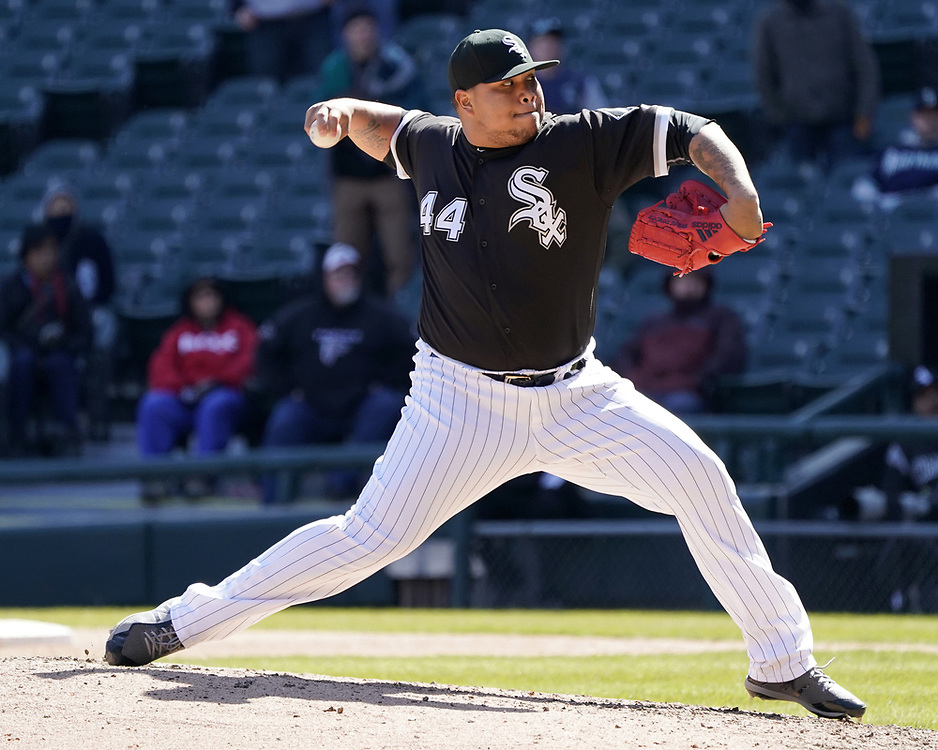 CHICAGO - APRIL 25:  Bruce Rodon #44 of the Chicago White Sox pitches against the Seattle Mariners on April 25, 2018 at Guaranteed Rate Field in Chicago, Illinois.  (Photo by Ron Vesely)   Subject:   Bruce Rodon