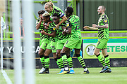 Forest Green Rovers Junior Mondal(25) scores a goal 1-0 and celebrates with team mates during the EFL Sky Bet League 2 match between Forest Green Rovers and Grimsby Town FC at the New Lawn, Forest Green, United Kingdom on 17 August 2019.