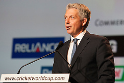 © Licensed to London News Pictures. 30/7/2013. CEO of the international cricket council David Richards speaks during the official launch of the I.C.C Cricket World Cup to be held in Australia and New Zealand in 2015, Melbourne, Australia. Photo credit : Asanka Brendon Ratnayake/LNP