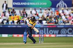 June 28, 2019 - Chester Le Street, County Durham, United Kingdom - Sri Lanka's Jeevan Mendis hits out during the ICC Cricket World Cup 2019 match between Sri Lanka and South Africa at Emirates Riverside, Chester le Street on Friday 28th June 2019. (Credit Image: © Mi News/NurPhoto via ZUMA Press)