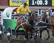 Kelly Sutherland lets out a roar as he crosses the finish line during heat six on night ten of the Rangeland Derby chuckwagon finals at Stampede Park in Calgary on Sunday, July 13, 2014.(Jenn Pierce/Calgary Herald)
