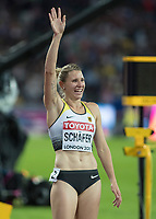 Athletics - 2017 IAAF London World Athletics Championships - Day Three, Evening Session<br /> <br /> Womens Heptathlon 800m<br /> <br /> Carolin Schafer (Germany) celebrates winning the Silver medal  at the London Stadium<br /> <br /> COLORSPORT/DANIEL BEARHAM