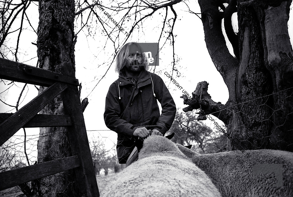 Roy Harper with sheep 1975