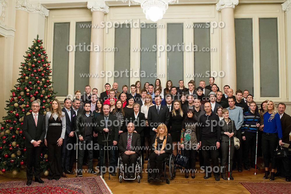 Group photo during reception at Slovenian president Borut Pahor prior to the Slovenian Sports personality of the year 2013 annual awards presented on the base of Slovenian sports reporters, on December 19, 2013 in President palace, Ljubljana, Slovenia.  Photo by Vid Ponikvar / Sportida
