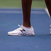 2019 US Open Tennis Tournament- Day Two. Coco Gauff of the United States with her 'Call me Coco' tennis shoes during her match against Anastasia Potapova of Russia in the Women's Singles Round One match on Louis Armstrong Stadium at the 2019 US Open Tennis Tournament at the USTA Billie Jean King National Tennis Center on August 27th, 2019 in Flushing, Queens, New York City.  (Photo by Tim Clayton/Corbis via Getty Images)